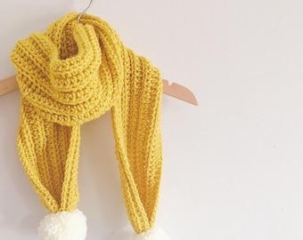 Crochet Scarf | Pom pom Scarf | Pom pom | Childrens Scarf | Custom | Crochet