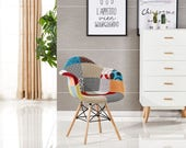 Items similar to patchwork chair eames style 1 chaise for Chaise dsw patchwork