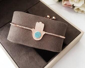 PROMO hamsa evil eye bracelet, rose turquoise hamsa bracelet, adjustable hamsa bracelet, turquoise bead bracelet, adjustable rose bracelet