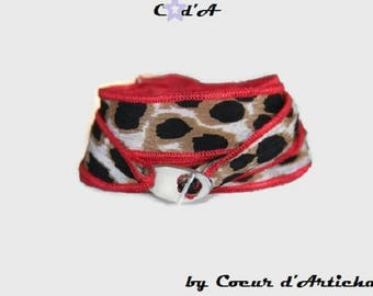 Red stitching and Leopard print Silk Ribbon Bracelet