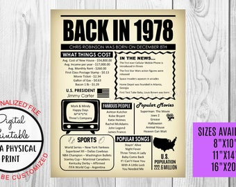 40th Birthday Poster Sign, Back in 1978 Newspaper Style Poster, Printable, 1978 Facts, 40 years ago sign, Anniversary Gift, Customized