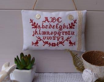 Door cushion alphabet cross-stitched - primer pillow cross-stitched - hanging cushion - cushion fabric