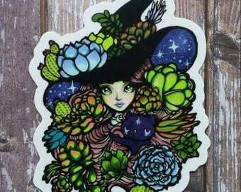 Succulent Witch - 3 Inch Die Cut Weatherproof Vinyl Sticker /Decal from Drawlloween /Inktober 2017 Halloween themed