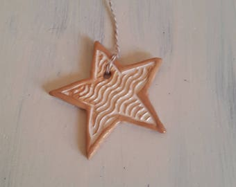 Star ochre ceramic / / Christmas tree decoration / / ceramic Christmas star / / Christmas tree decoration / / Deco wall Christmas