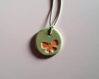 Ceramic Green Butterfly Necklace pendant