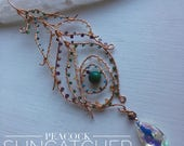 Peacock Crystal Chandelier Suncatcher with turquoise, amethyst, citrine, emerald