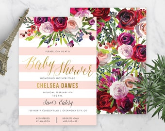 "Feminine Floral Invitation - 5x7"""