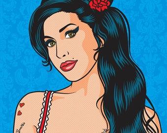Amy Winehouse. Pop Art print 40 x 30 cm.