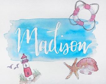 Build-your-own Name Painting Custom Watercolor