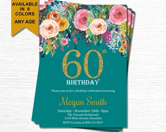 60th Birthday Invitations for Women. Surprise 60th Birthday Invitations. Cheers To 60 Years. Floral Birthday Invitation. Gold Glitter. A15