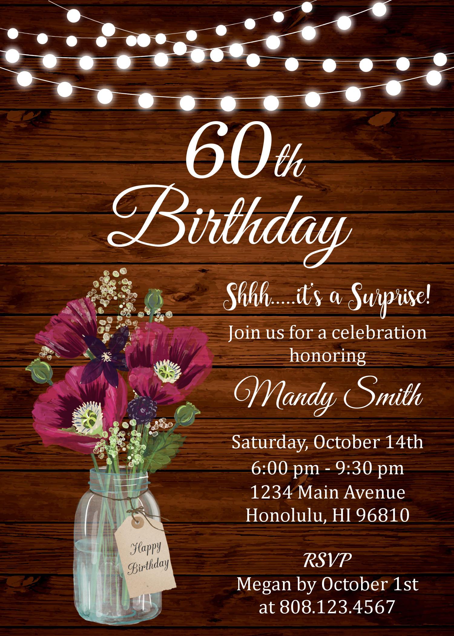 60th birthday invitations for women surprise 60th birthday 60th birthday invitations for women surprise 60th birthday invitation floral birthday invitation rustic filmwisefo