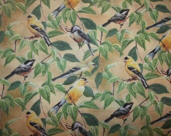 Fruit of The Vine Finch Chickadee Wildlife Birds on Branches Cotton Fabric #239