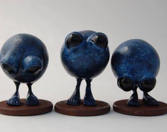 Set of Three 'Glum Chums' Figurines, OOAK Art Toys, Polymer Clay Sculptures