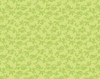 By the HALF YARD - Halle Rose by Lila Tueller for Riley Blake, Pattern #C4184 Green, Green Scrolling Leafy Vines on Lime Green
