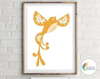 Orange Folk Bird Print - Scandi Orange Birds
