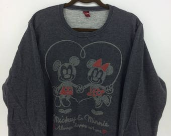 Vintage 90's Mickey Mouse Walt Disney Cartoon Classic Design Skate Sweat Shirt Sweater Varsity Jacket Size 4L #A817