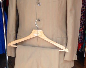 DEADSTOCK 1960s taupe/stripe lightweight wool suit