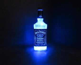 Jack Daniels lighted bottle, Jack Daniels gift, Jack Daniels decor, Jack Daniels party, Jack Daniels display, Jack Daniels art, barware