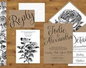 Simple Floral Kraft Illustrated Wedding Invitations Stationery Set - Printed or Digital Download - Kraft Paper - Wedding Printable