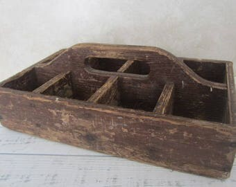 Vintage Wood Tool Caddy Divided Box Rustic Wood Decor Handled Crate