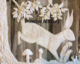 5x7 Original Art Hare Rabbit Print, Original Art Bas Relief Print, Pentacle Spring Hare Mushrooms Print