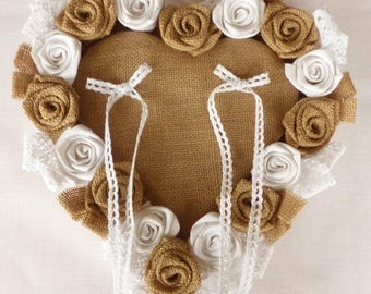 Heart Jute canvas and white fabric wedding ring