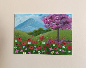Original acrylic painting using texture poppy flower field tree colourful wall art