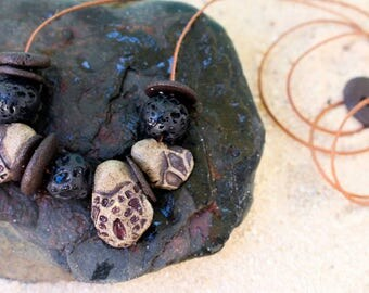 Pumice stone and stoneware necklace // earthly beaded stoneware necklace // beach pebble necklace // beach stone necklace / black stone