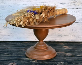 16 inch cake stand Wedding Cake Stand Wood Cake Stand Sweets table decor Cake Pedestal Rustic Brown Shabby Cake Stand