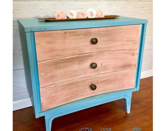 Textured MCM Concave Three Drawer Dresser / Side Table