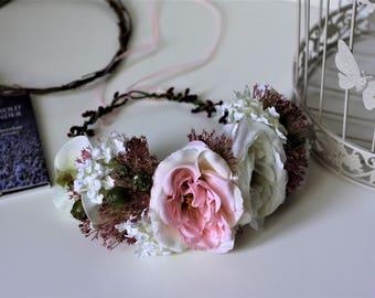 Ready to ship flower crown Pink flower crown Pink flower headband Unique flower crown Pink flower garland Pink bridal crown Pink wreath