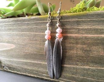 Feather Earring with peach beads