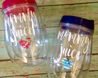 Custom Mommy Juice Stemless 10oz Wine Glass Tumbler with lid and straw, 10 oz Wine Tumbler