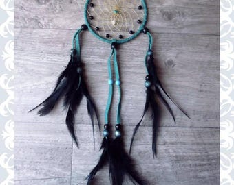 blue  spiritual, black  native american dreamcatcher with  turquoise