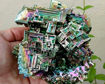 2.9 LB! Rainbow Bismuth Bouquet! Lab Grown Crystal Display Specimen Educational Metaphysical Metal Healing Self-Standing