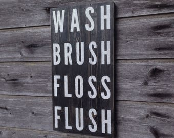 Wash brush floss floss / Wall decor / Wood sign / 46cmx24cm / Bathroom decor / Bathroom rules