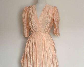 1980s Light Peach Silky Dress Vintage