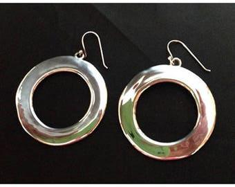 Vintage Sterling Hoop Earrings for Pierced Ears