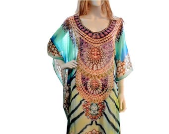 kaftan caftan, short kaftan dress, plus size/regular size dress, beach kaftan digital print embellished caftan dress beach tunic