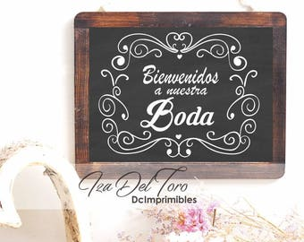 Sign wedding slate Vintage printable, sign welcome Digital, customizable in Spanish or English.