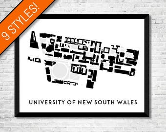 University of New South Wales map art | Printable UNSW map print, UNSW print, UNSW graduation gift, Australia graduation gift, Campus map