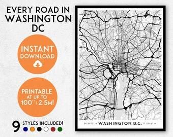 Washington DC map print, Printable Washington map art, DC print, DC wall art, Washington print, Washington art map, Washington poster