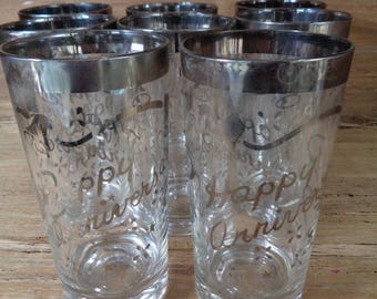 Set Of 8 Vintage Queen's Lusterware Silver Ombre Glasses Tumblers, Happy Anniversary Glasses with Silver Band Bells Confetti