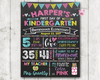 Printable First Day of School Sign, First Day of Preschool Chalkboard Sign, Printable Kindergarten Sign, Back to School Photo Prop - 11 x 14