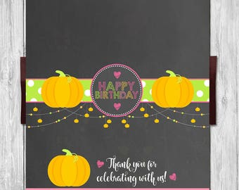 Pumpkin Birthday Candy Wrapper - Chalkboard - Halloween Birthday Party Chocolate Bar Candy Wrap - Pumpkin Patch Birthday Party Favors - Pink