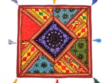 Handmade Hippie Gypsy Home Decor Ethnic Multi color Embroidered Hippy Patchwork Bohemian Pillow Shams Couch Cushion Cover Case G752