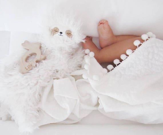 White Quilt Pom Swaddle Blanket