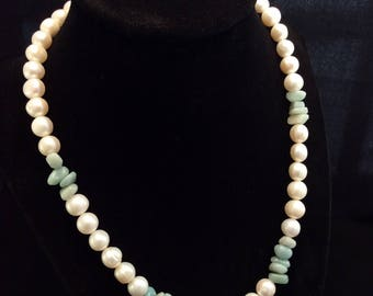 Sterling Silver Cultured Freshwater Round Pearls and Amazonite, Ladies Pearl Necklace