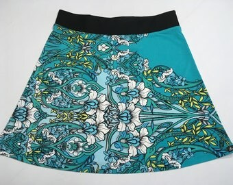 Robin Egg Blue/Daffodil Yellow Spring Flower Print Skirt Silky Fabric with Hidden Adjustable Tie Comfortable A-Line Cut Skims over Hips