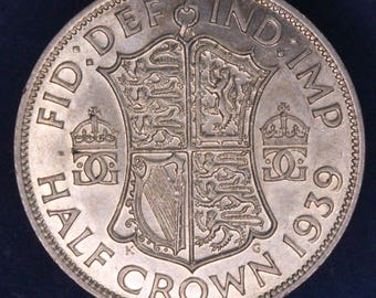GENUINE 1939 George VI KGVI 50% Silver Half Crown  2/6 excellent coin *[11877]